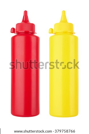 Bottles of Ketchup and Mustard isolated on white background - stock photo