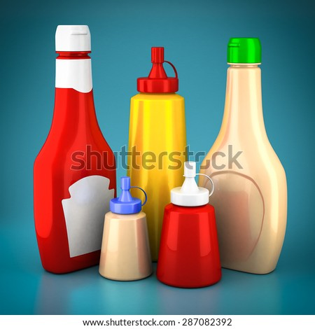 Bottles of ketchup, mustard and mayonnaise on a blue background - stock photo