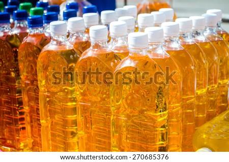 Bottles of oil - stock photo