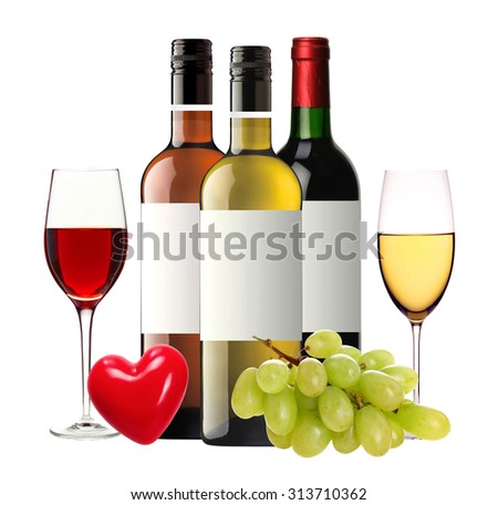 bottles of red, pink and white wine and wineglasses isolated on white background