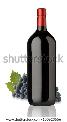 bottles of red wine for label design - stock photo