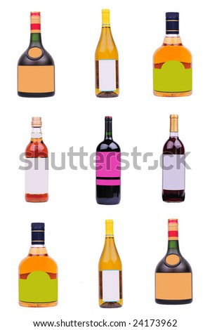 bottles of variety liquor with blank label isolated on white - stock photo