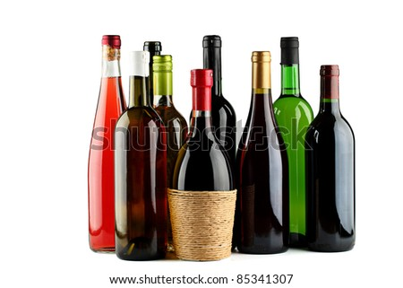 Bottles of wine. - stock photo