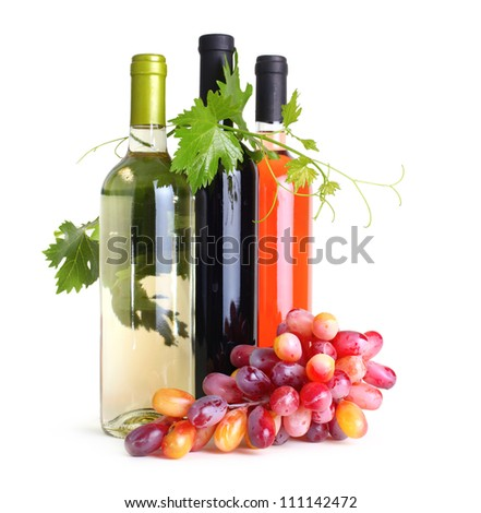 bottles of wine and grapes - stock photo