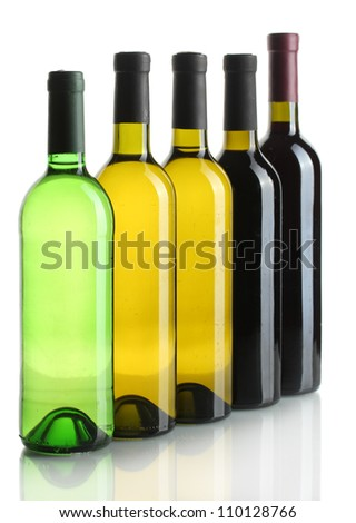bottles of wine isolated on white - stock photo