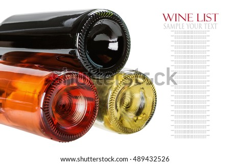 bottles of wine of different sorts isolated on white background. Text example and removed