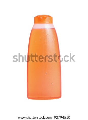 bottles shampoo  Orange. Isolated on white background - stock photo