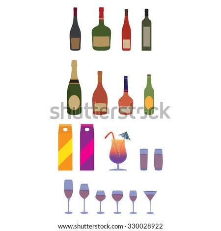 Bottles, stemware, glasses. Alcohol, beverages.