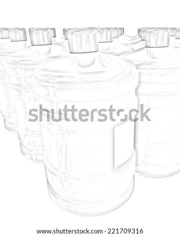 Bottles with clean blue water on a white background. Pencil drawing - stock photo
