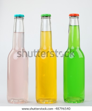Bottles with different drinks