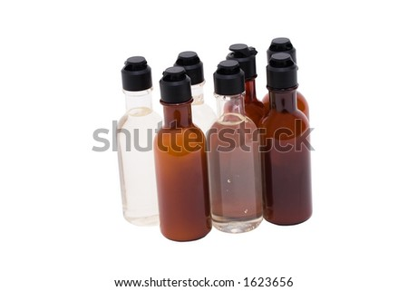 Bottles with shampoo and conditioner; Isolated, Path included