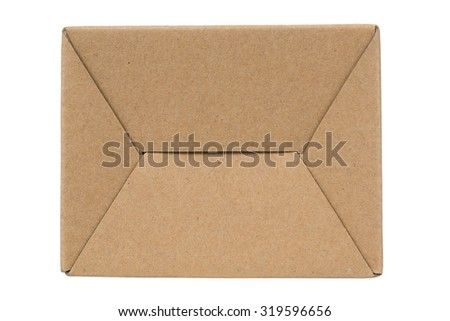 Bottom of cardboard Box or brown paper box with label isolated on White background