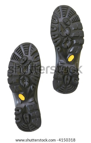 Bottom of hiking shoes isolated on pure white background - stock photo