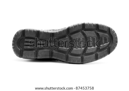 Bottom of the black man's shoe isolated on white background