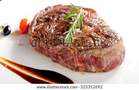 Bottom Round Steak, medium done - stock photo