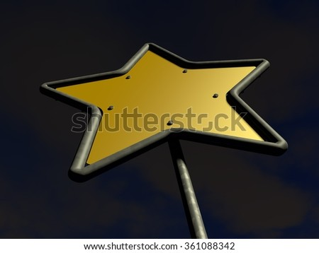 Bottom-up perspective view of a 5 branches star shaped yellow road sign with a night sky on background
