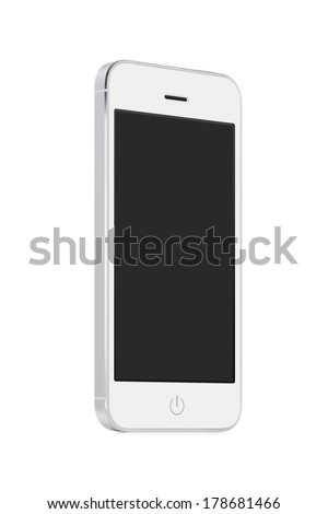 Bottom up view of rotated at a slight angle white modern mobile smart phone with blank screen isolated on white background. High quality. - stock photo
