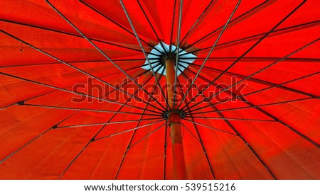 Bottom view of red umbrella