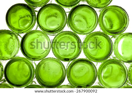 Bottoms of empty glass bottles - stock photo