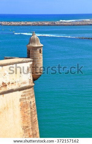 Bou Regreg river and distant Atlantic ocean behind the walls of the Kasbah of the Udayas in Rabat, Morocco - stock photo