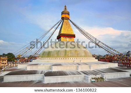 Boudhanath Stupa at sunset, the largest stupa in Nepal, Kathmandu. Was built in the 14th century.