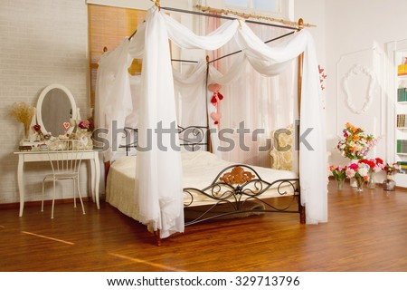 Boudoir. Luxurious interior in the vintage style. Day lighting  - stock photo