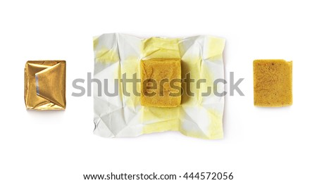 Bouillon stock broth cube isolated over the white background, set of three images, wrapped and unfolded - stock photo