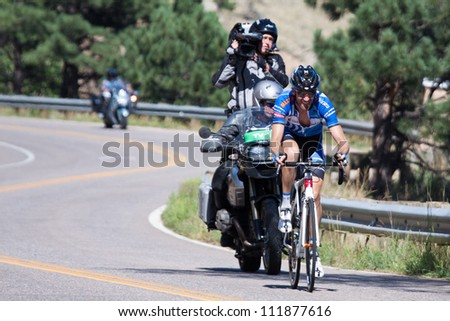 BOULDER, CO - AUGUST 25:  Australian Rory Sutherland leads stage 6 of the 2012 Pro Cycling Challenge while riding up Flagstaff Mountain on August 25, 2012 in Boulder, CO