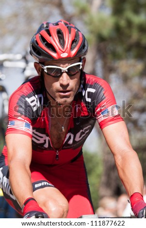 BOULDER, CO - AUGUST 25:  George Hincapie rides in the final race of his storied cycling career during stage 6 of the USA Pro Cycling Challenge on August 25, 2012 in Boulder, CO - stock photo