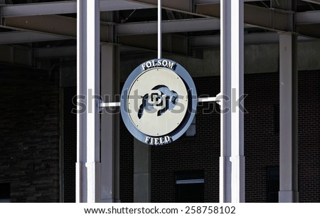 BOULDER, CO - FEBRUARY 10: An entrance to Folsom Field located in Boulder, Colorado on February 10, 2015. Folsom Field is an outdoor football stadium and home to the Colorado Buffaloes of the Pac-12. - stock photo
