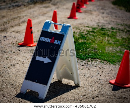 Boulder, CO -- June 11, 2016: A marker on the run course of the Ironman 70.3 Boulder.