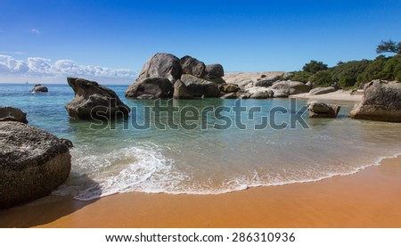 Boulders Beach in Cape Town with beautiful sand and water - stock photo