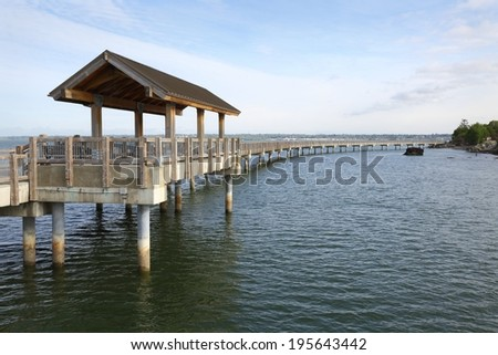 Boulevard Park Pier, Bellingham. Boulevard Park Pier on the shore of Bellingham Bay in Bellingham, Washington, USA.  - stock photo