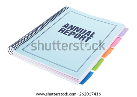 Bound Document on White Background - Annual Report