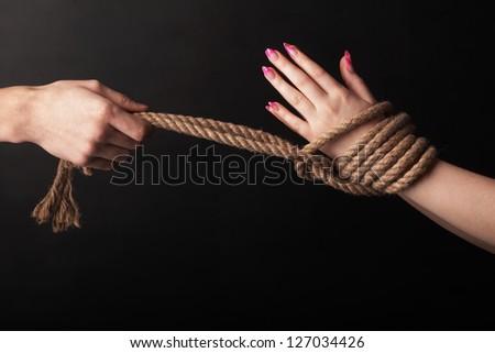bound hands - stock photo