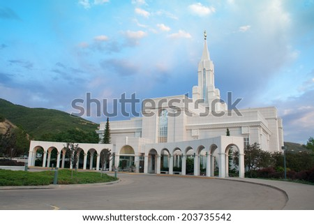 Bountiful, Utah temple of the LDS church - stock photo