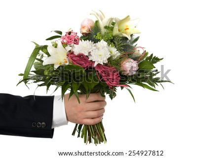 bouquet bunch of flower isolated on white background - stock photo