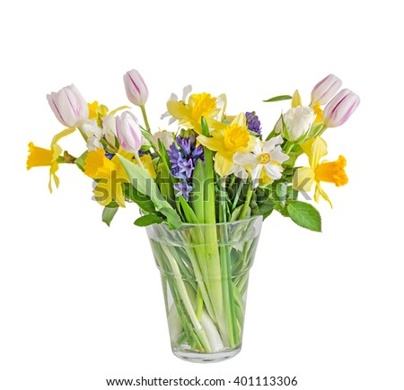 Bouquet, floral arrangement with yellow daffodils, white tulips, blue Hyacinthus orientalis and white roses, transparent vase, close up, isolated on white background.
