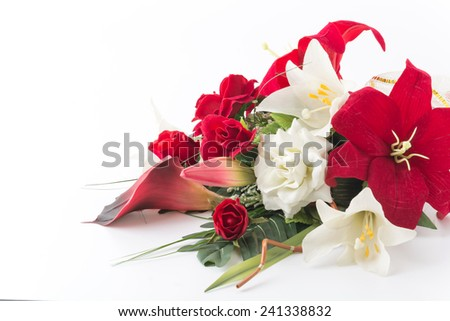 Bouquet flower on white background - stock photo