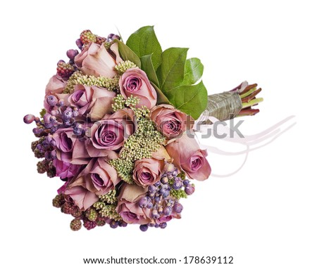 Bouquet for bride isolated on white background. Closeup. - stock photo
