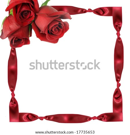 Bouquet from three red roses on framework from a tape with knots