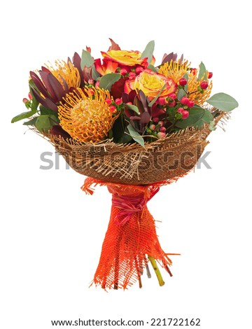 Bouquet from yellow roses and Arabian Star flower (Ornithogalum arabicum) isolated on white background. Closeup. - stock photo
