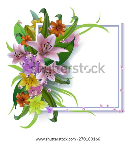 Bouquet lilies greeting card for Mother's Day, birthday, wedding.Raster version - stock photo