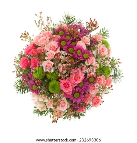 Bouquet made of Roses, miniature Roses, Chrysanthemum and Lilac flowers seen from above. - stock photo
