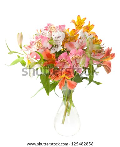 Bouquet of Alstroemeria flowers isolated on white background. - stock photo