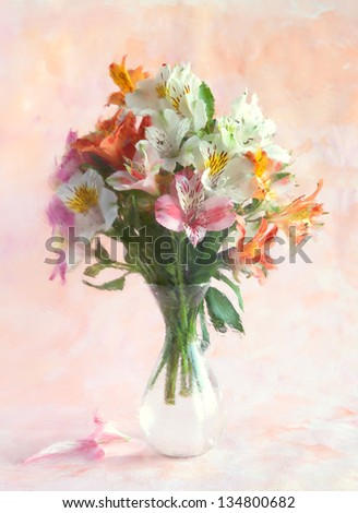 Bouquet of Alstroemeria in a transparent glass vase on abstract background. Photographed through a distorted glass.  focus on near flower - stock photo