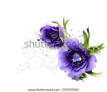 bouquet of anemone on a white background. Watercolor painting - stock photo