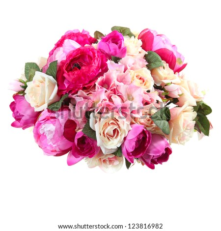 bouquet of artificial flowers roses, hydrangea, peony on a white background - stock photo