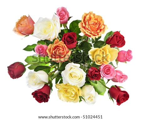 Bouquet of assorted multicolored roses from above isolated on white background - stock photo