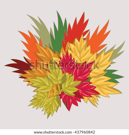 bouquet of autumn colored leaves isolated art abstract illustration light   background bitmap image